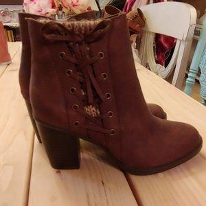 Brown booties 3 inch heels